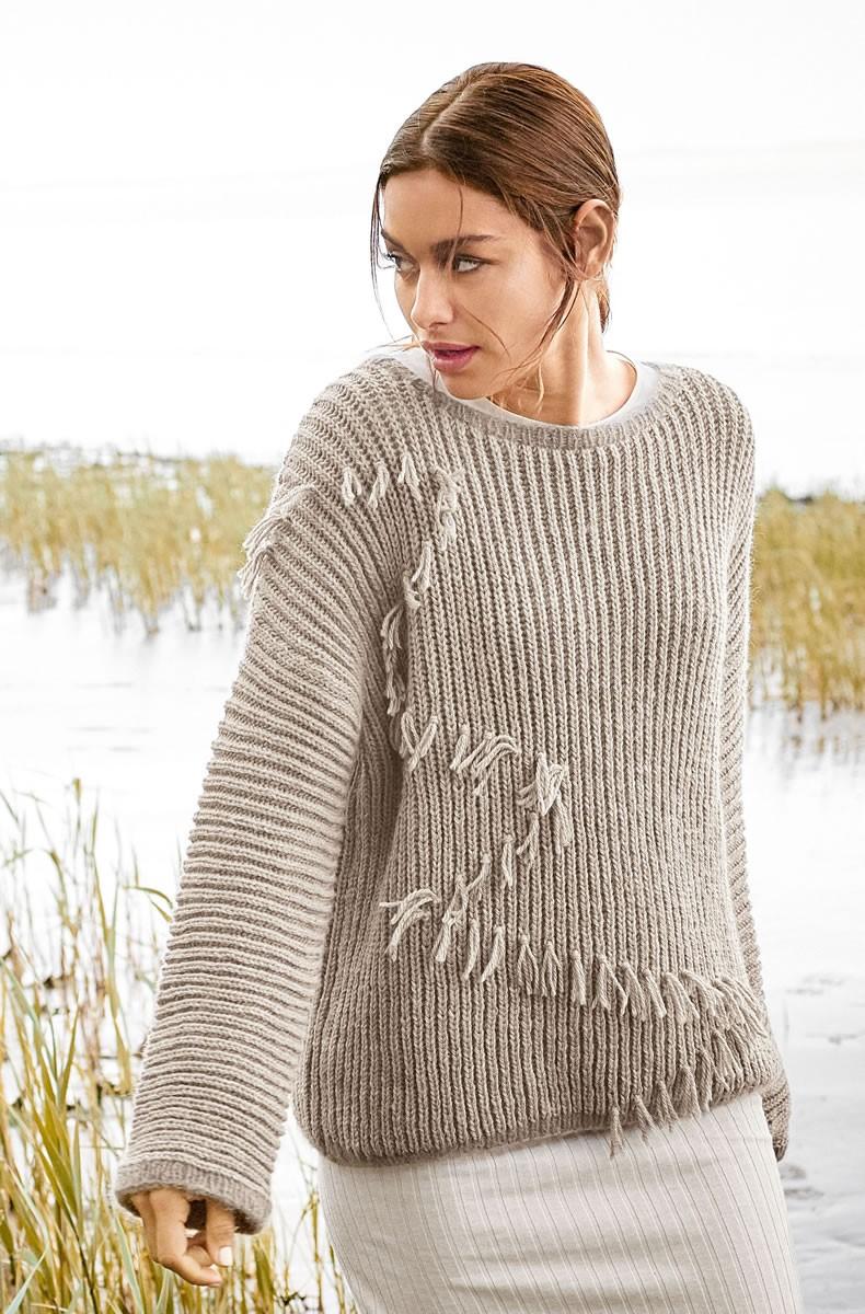 Lana Grossa SWEATER MED FRYNSER Cool Wool Alpaca/Splendid