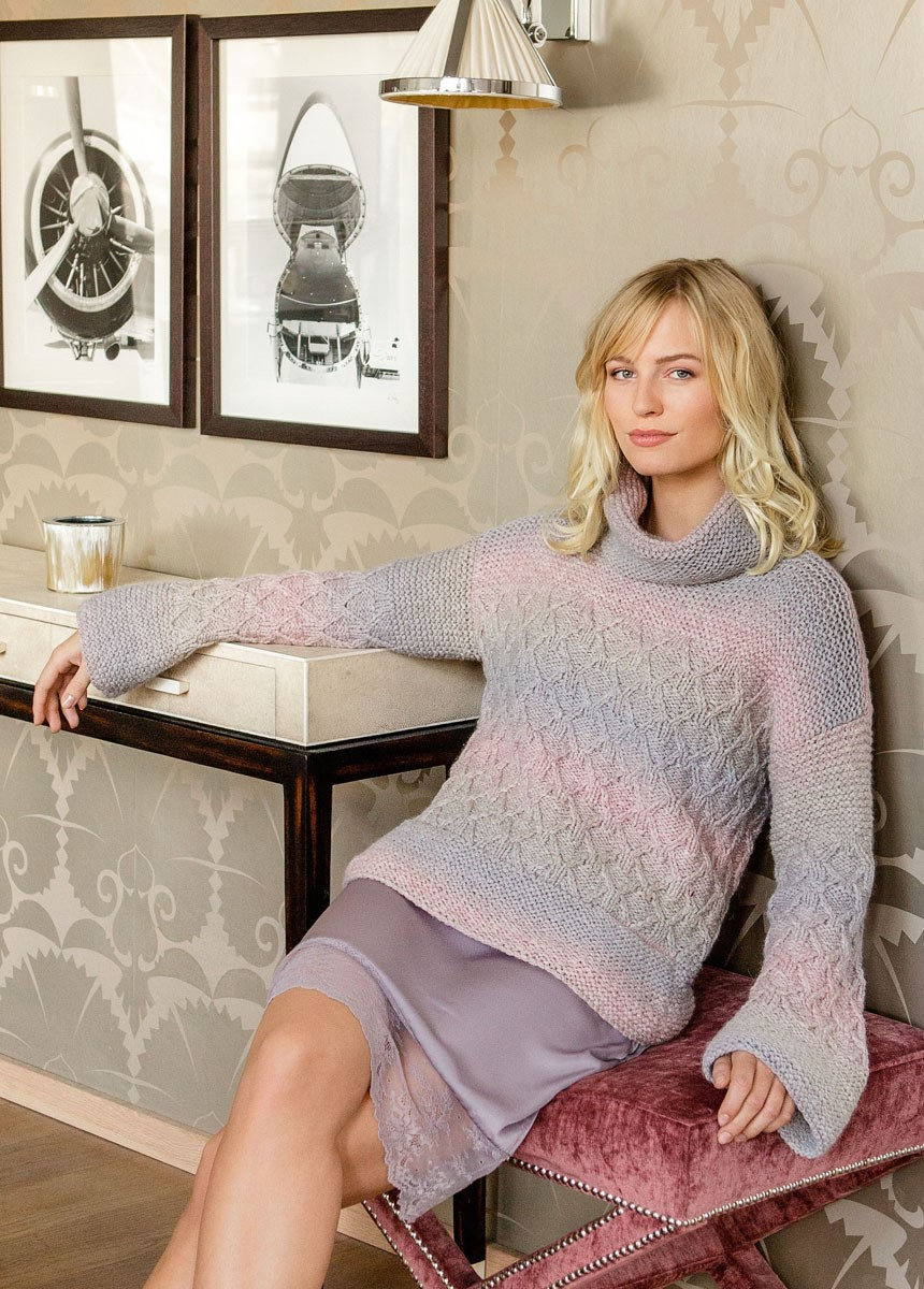Lana Grossa SWEATER MED RUDEMØNSTER OG RETSTRIK Super Color