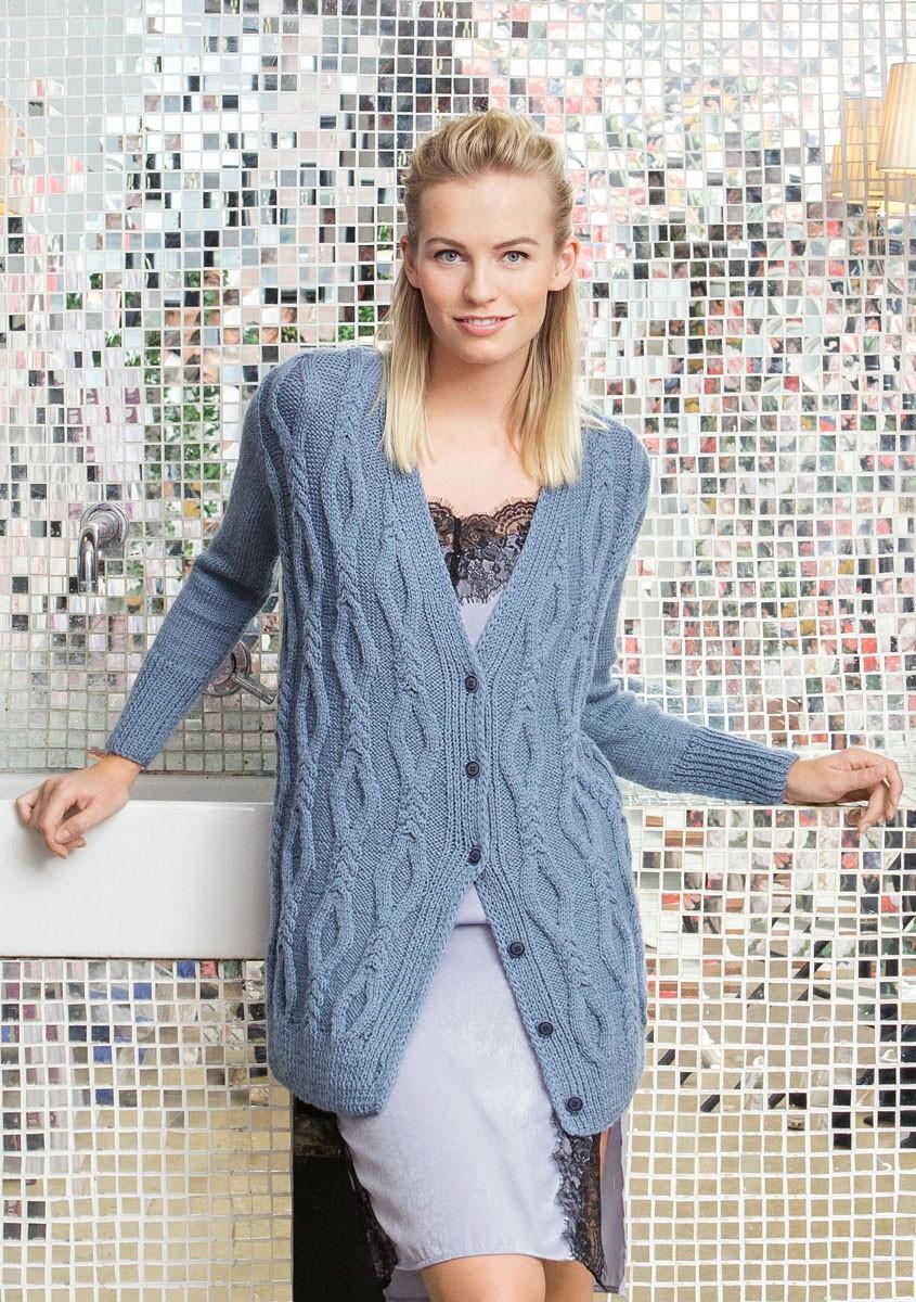 Lana Grossa JAKKE MED SNONINGER I RUDEMØNSTER OG GLATSTRIK Cool Wool Alpaca