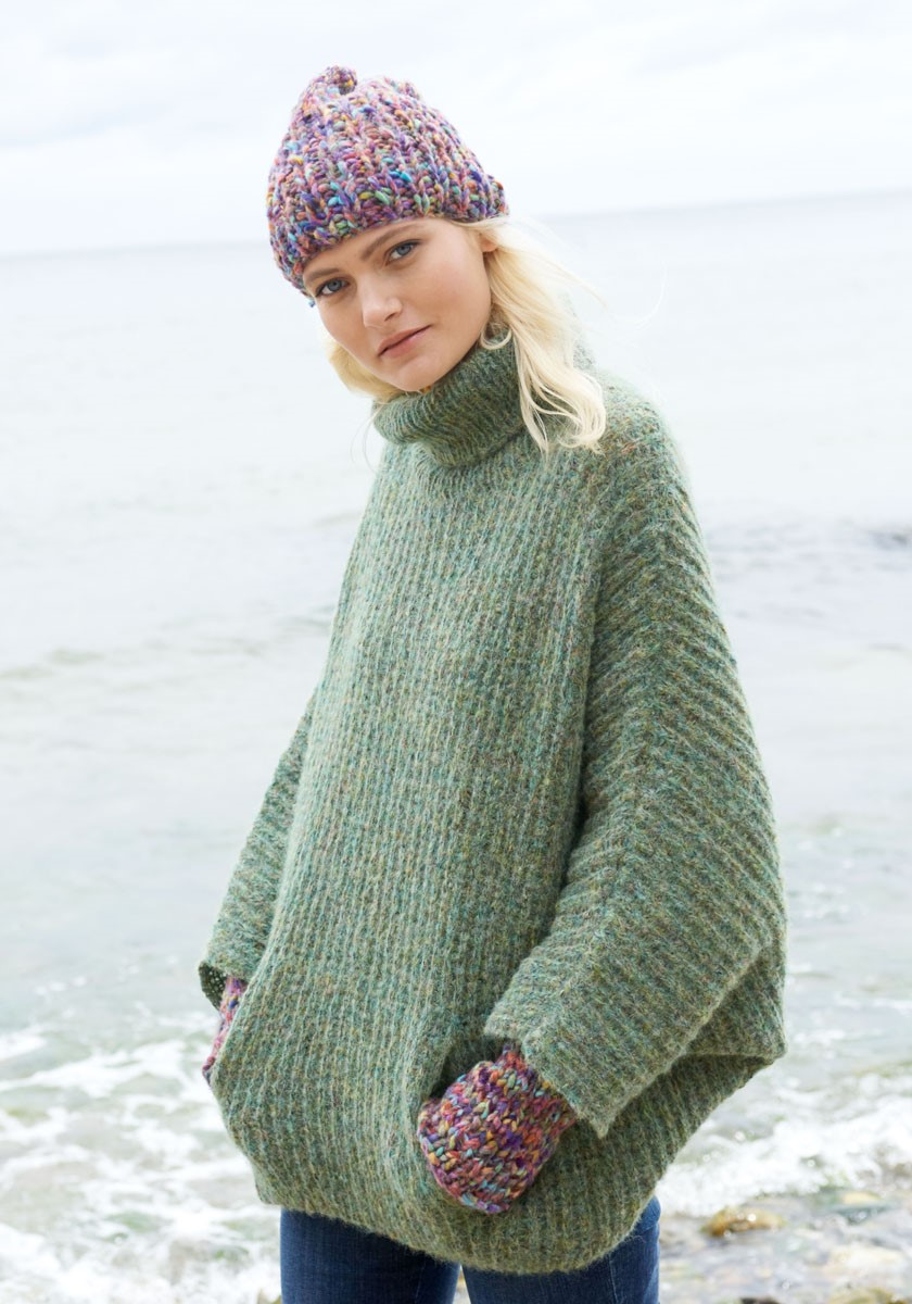 Lana Grossa SWEATER MED FLAGERMUSÆRMER Garzato Fleece