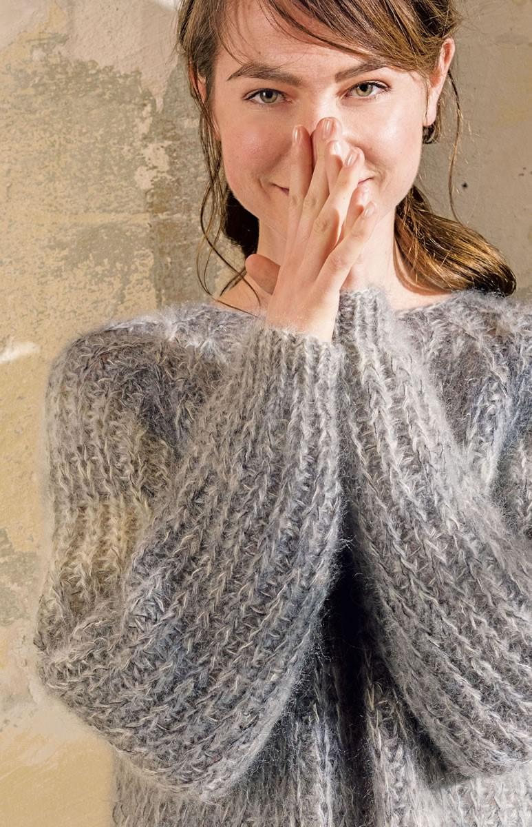 Lana Grossa SWEATER I HALVPATENT MED RUND KRAVE Silkhair Print